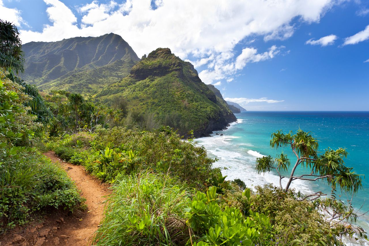 View along the Na Pali Coast from the Kalalau Trail in Kauai, Hawaii