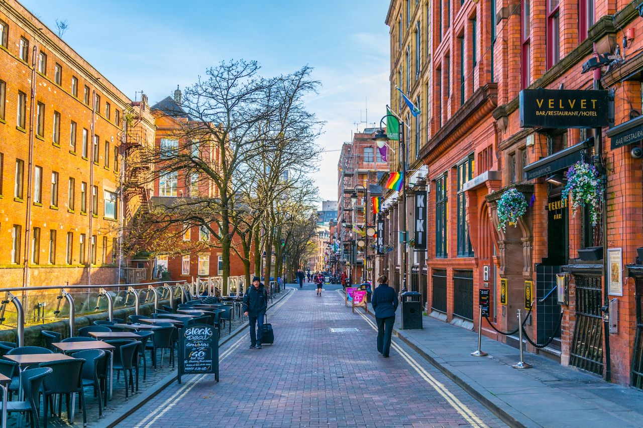 View of the Gay Village alongside Canal Street in Manchester, England