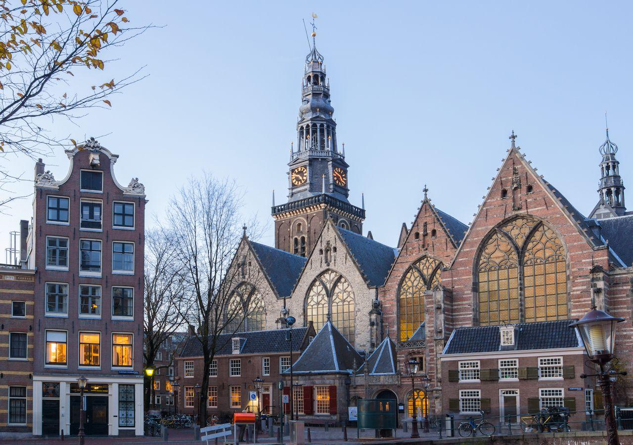 View of the Old Church in Amsterdam