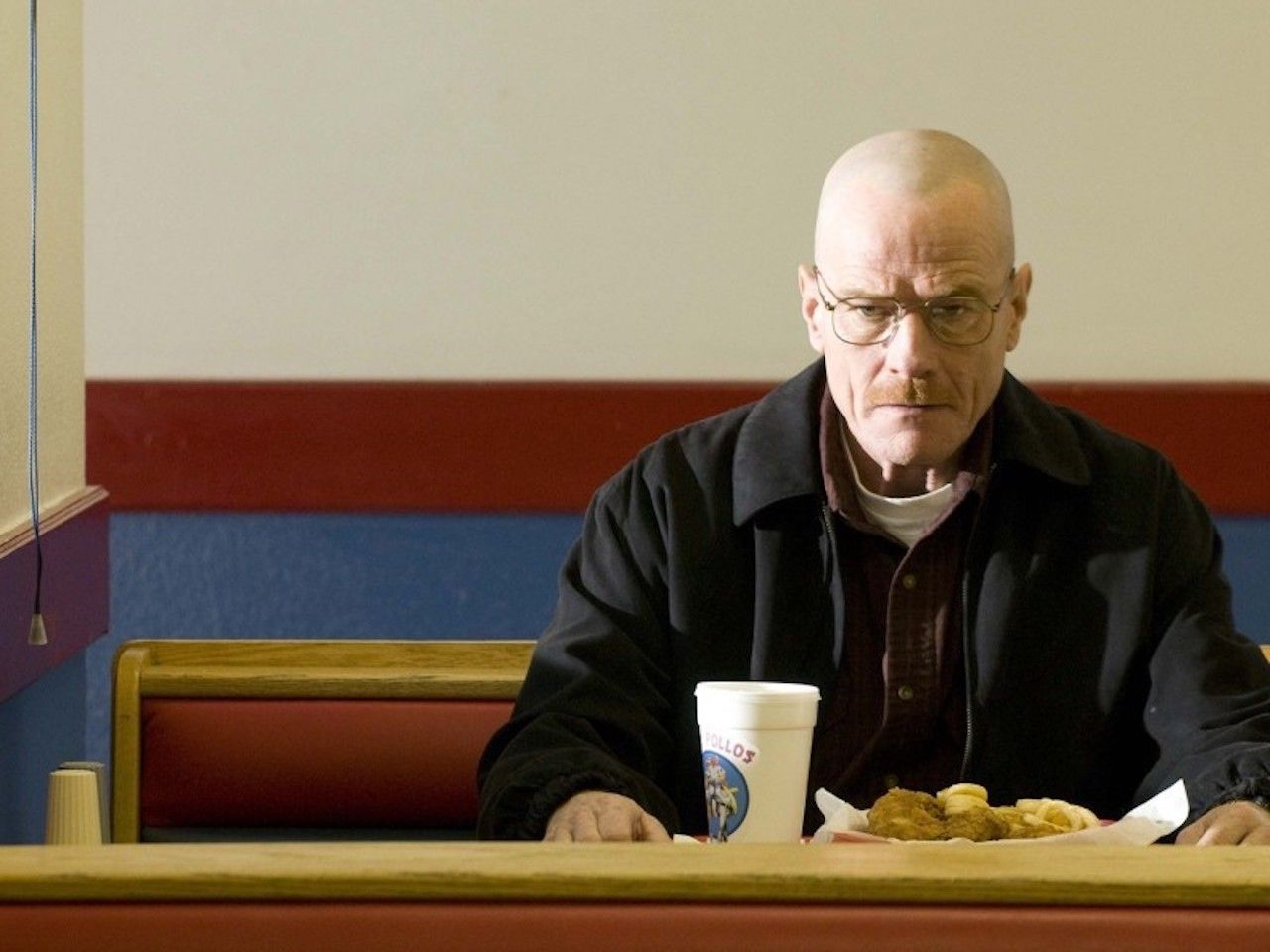 Walter White inside of Los Pollos Hermanos, which is actually Twisters in New Mexico