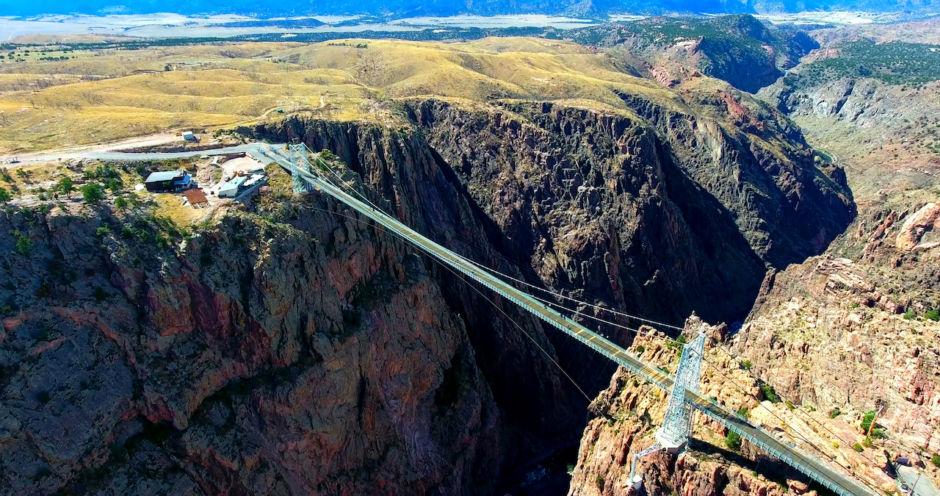 Wide Aerial View Of Royal Gorge Bridge In Colorado, USA