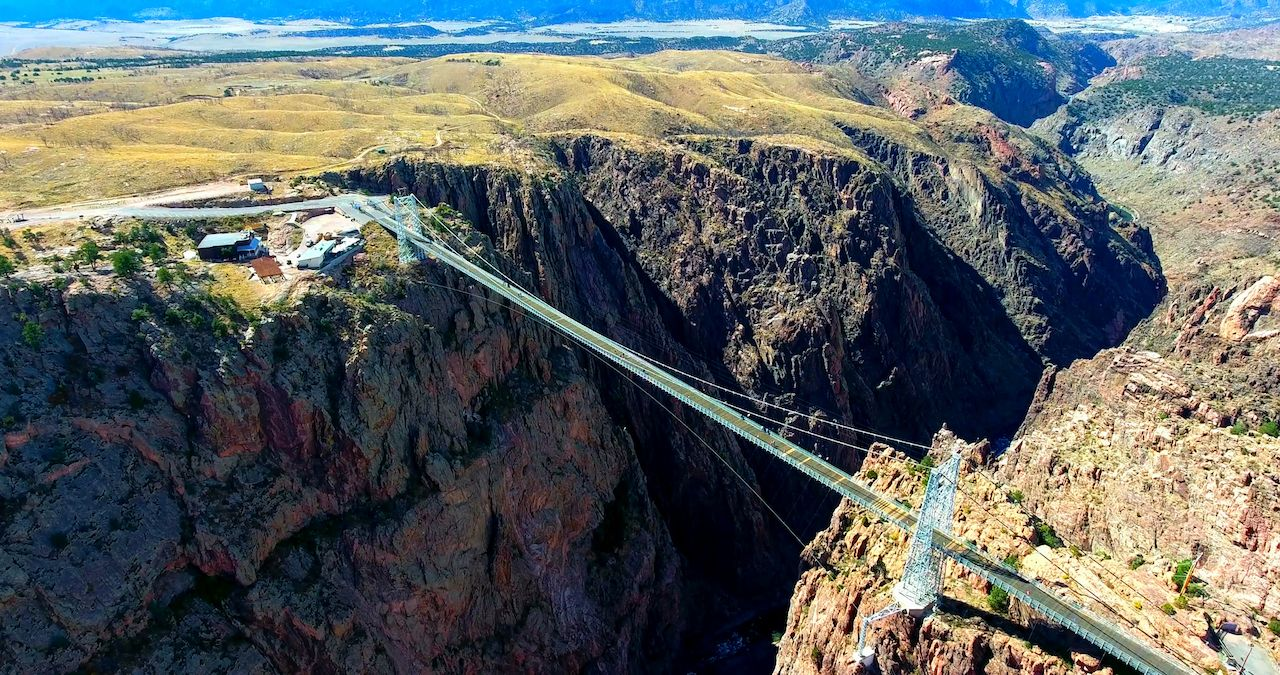 Wide Aerial View Of Royal Gorge Bridge In Colorado, USA