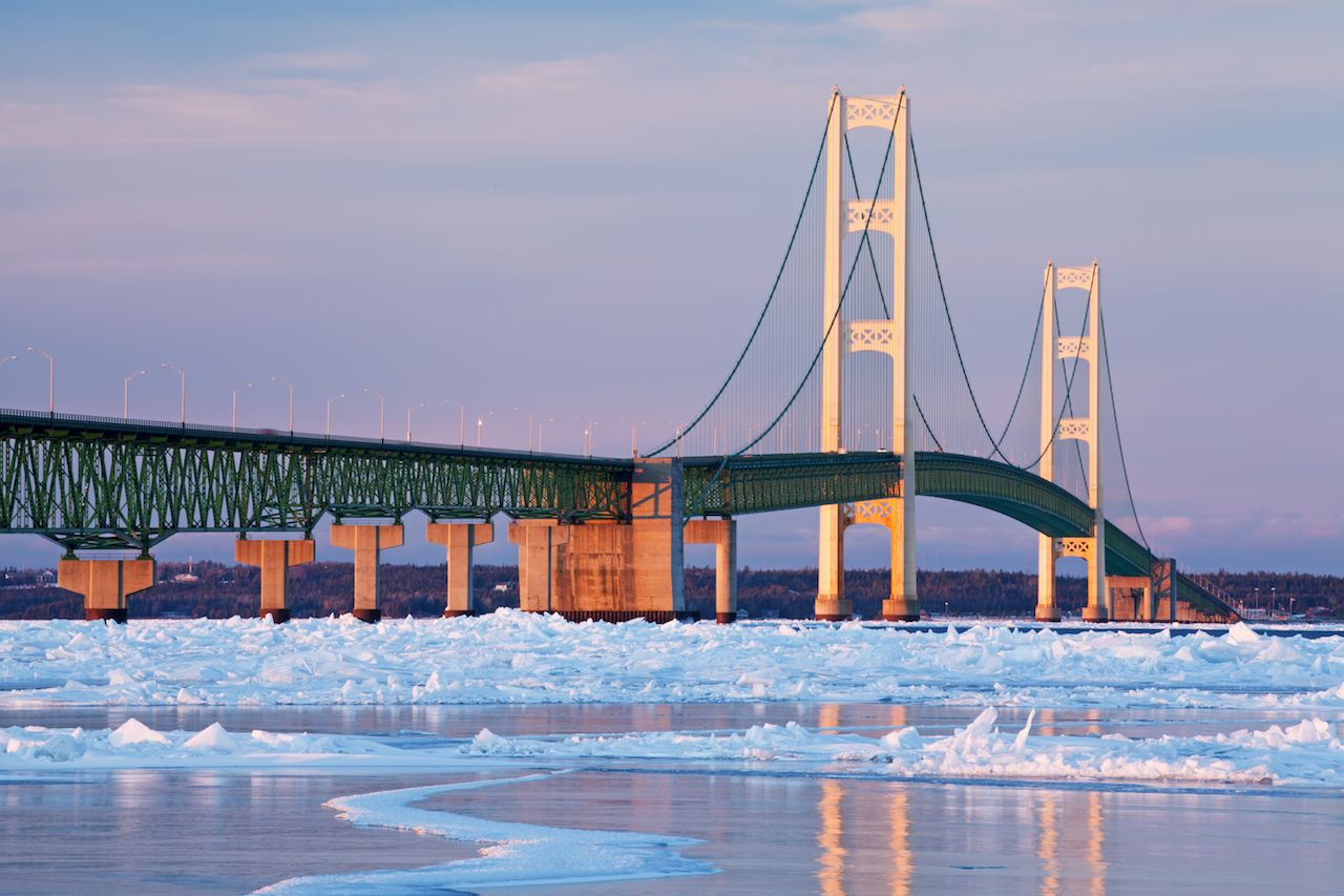Winter landscape near Mackinac Bridge and the frozen Straits of Mackinac