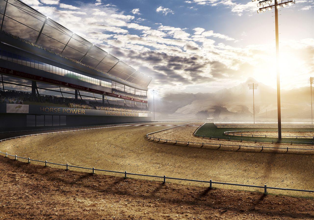 empty race track with stadium lights