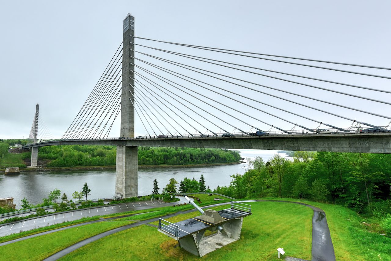 long cable stayed bridge over the Penobscot River in Maine