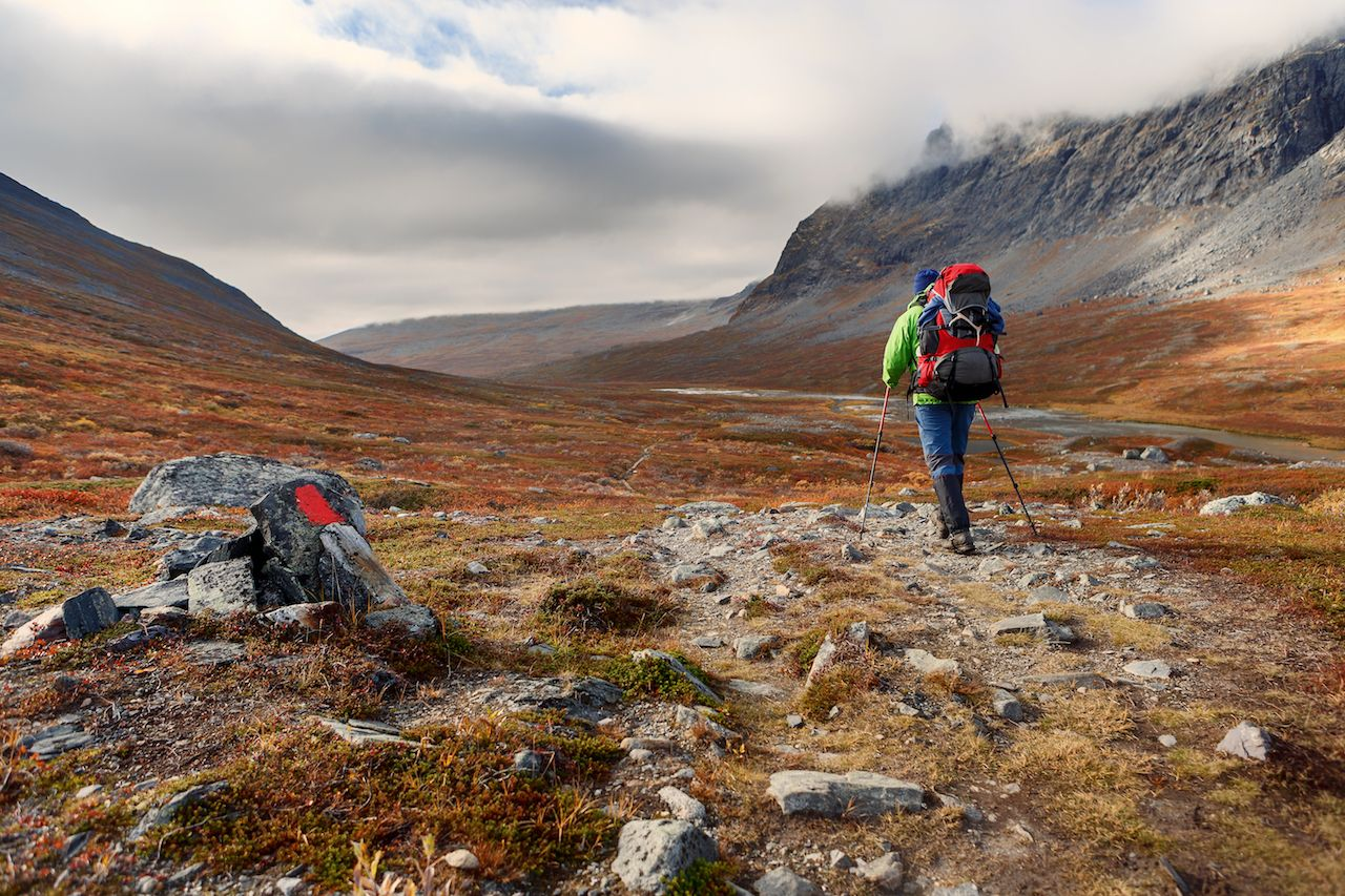 long distance Hiker on the Kungsleden hiking Trail in Lapland