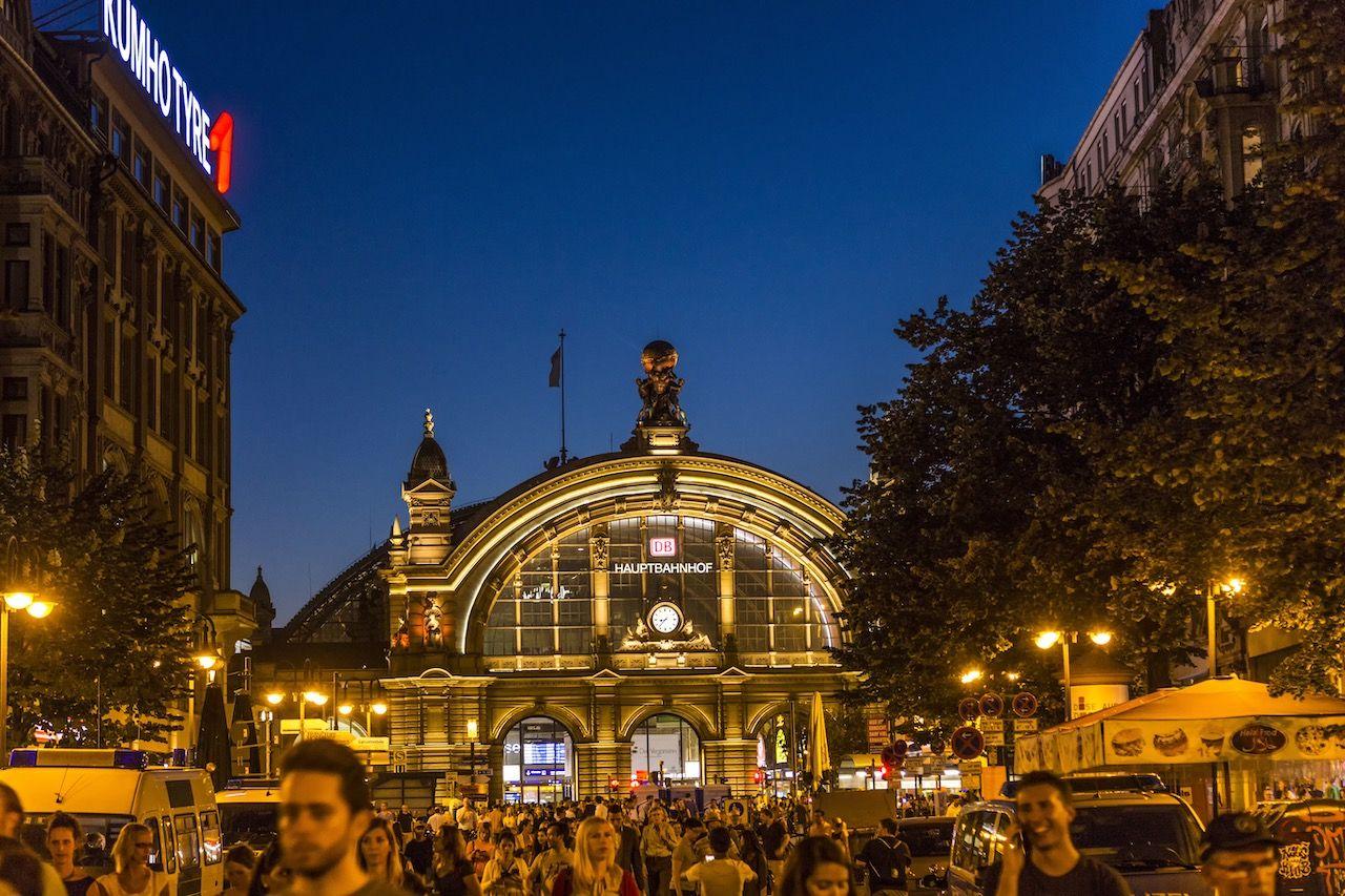 people enjoy the annual Bahnhofsviertel party in Frankfurt