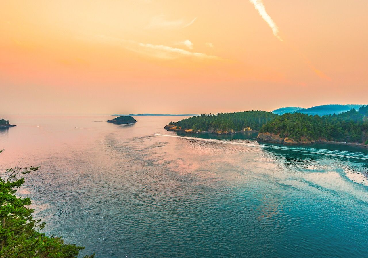 scenic of morning view in Deception pass state park area,Washington