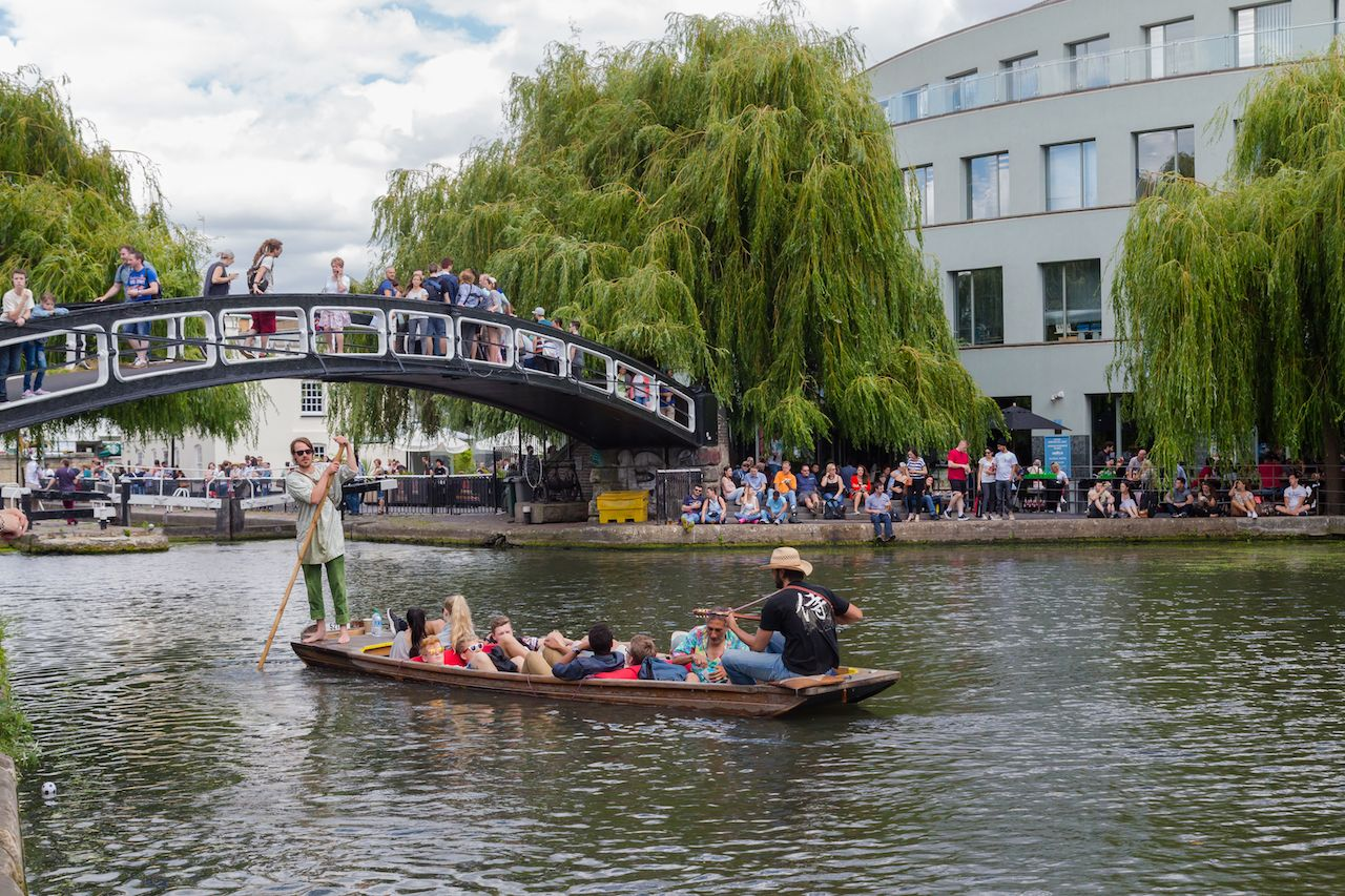 A music boat in the Regents Canal near Camden Lock