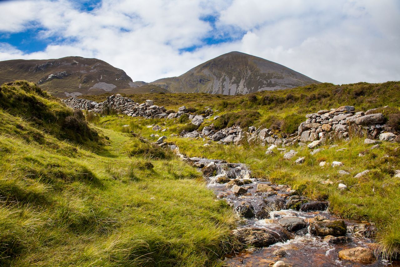 A small stream flowing beneath Croagh Patrick in County Mayo, Ireland
