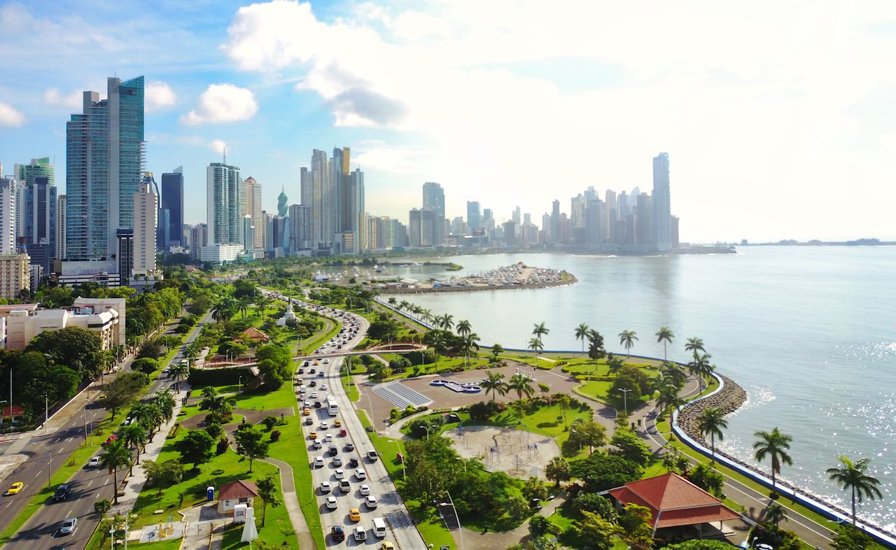 Aerial view of the modern skyline of Panama City, Panama