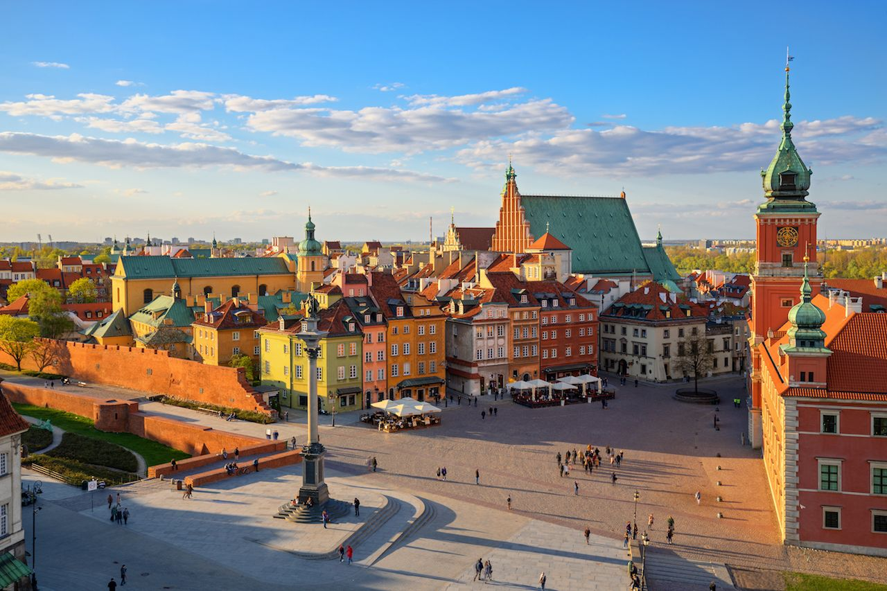 Aerial view of the old city in Warsaw