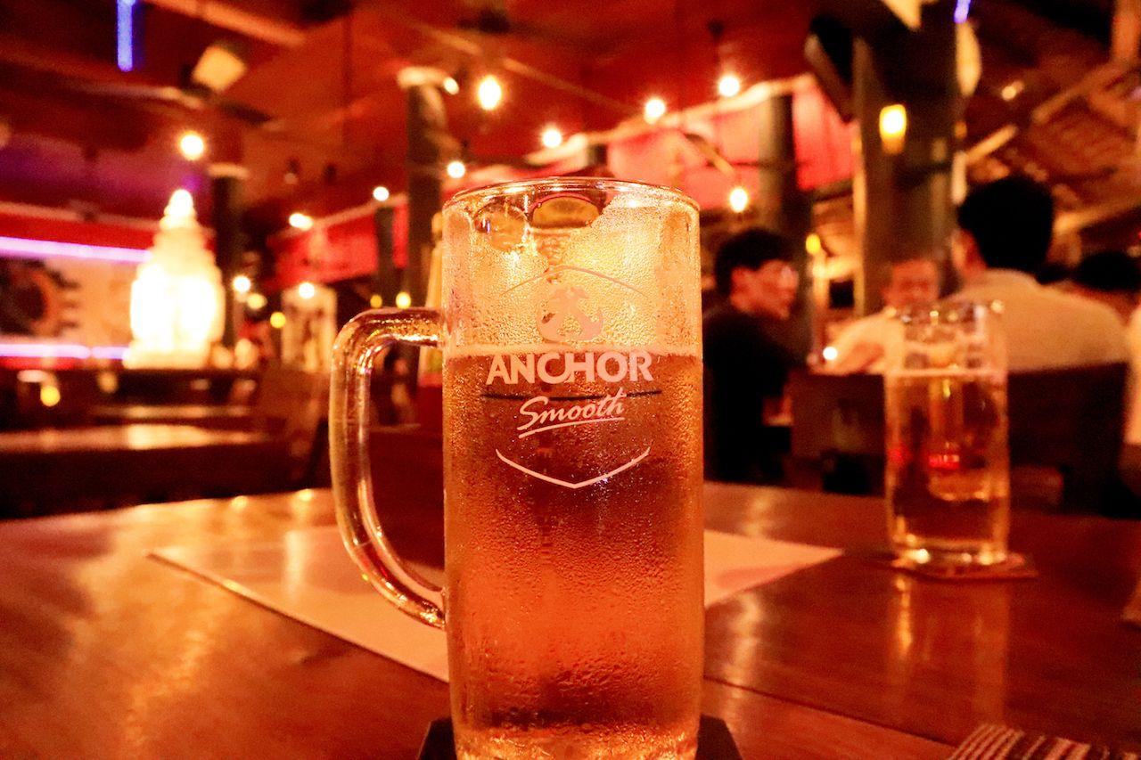 Anchor beer at a bar in Cambodia
