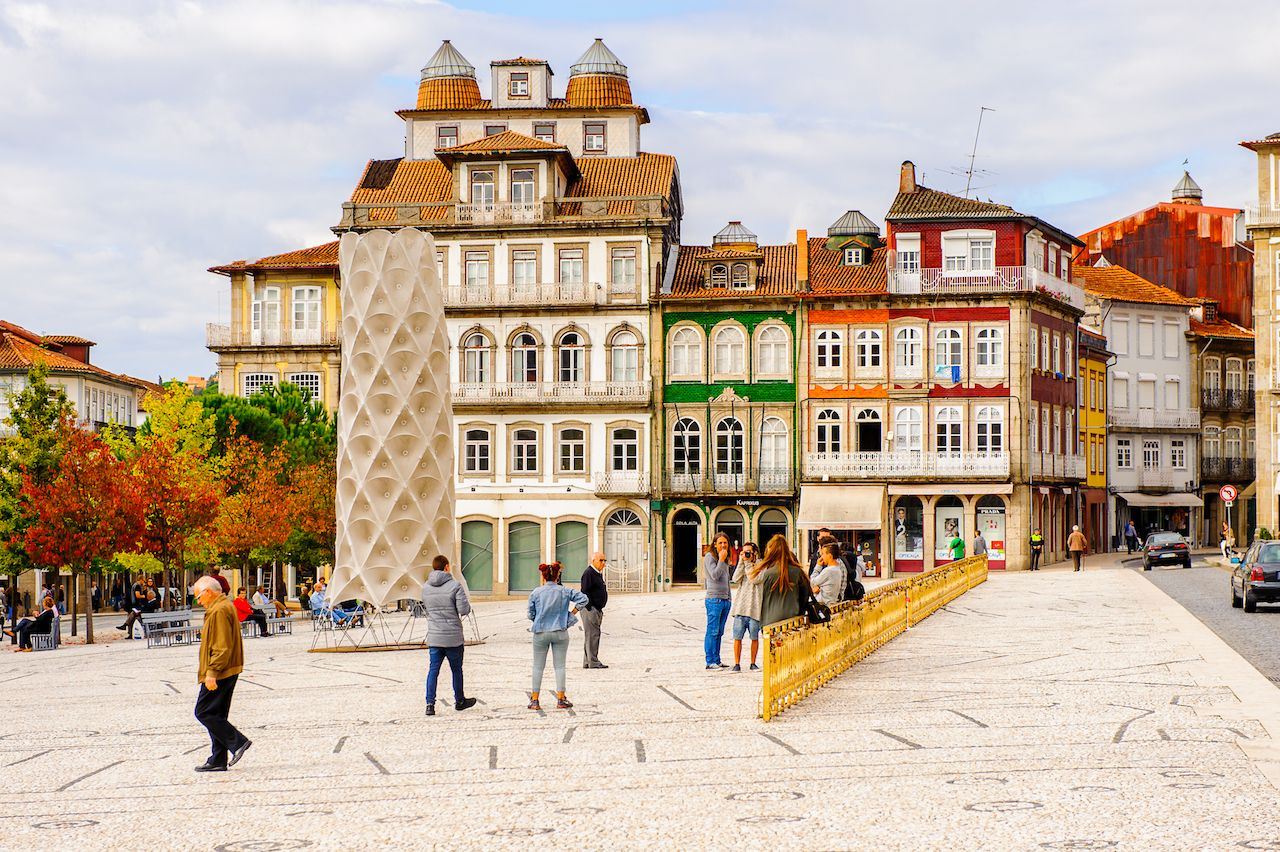 Architecture of the Tower Square of the Historic Center of Guimaraes, Portugal
