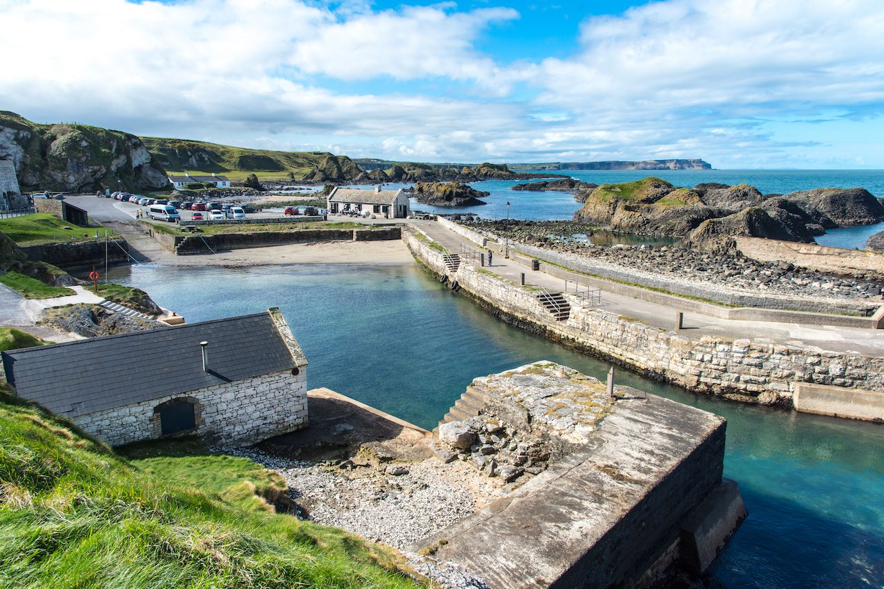Ballintoy beach and harbor in Northern Ireland