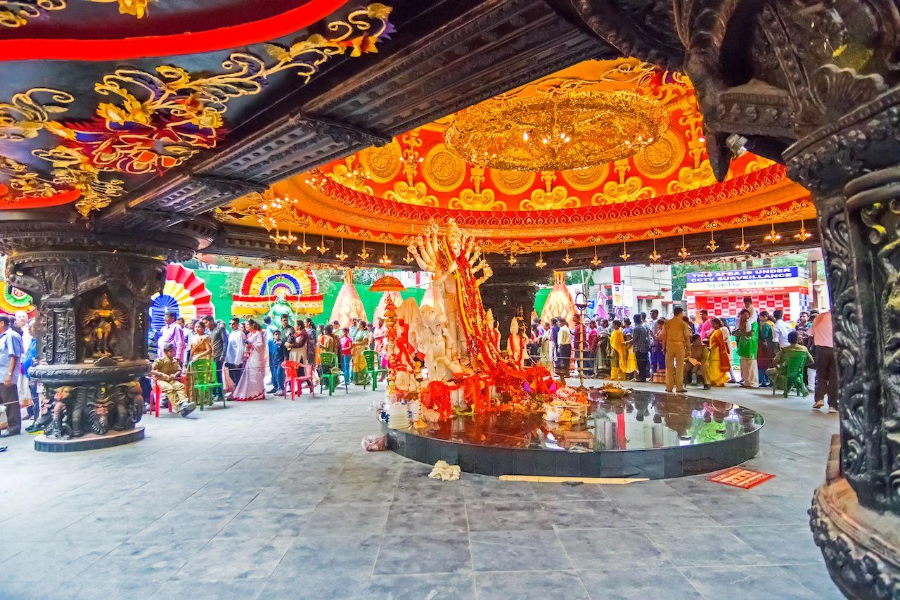 Beautiful interior of decorated Durga Puja pandal at Kolkata