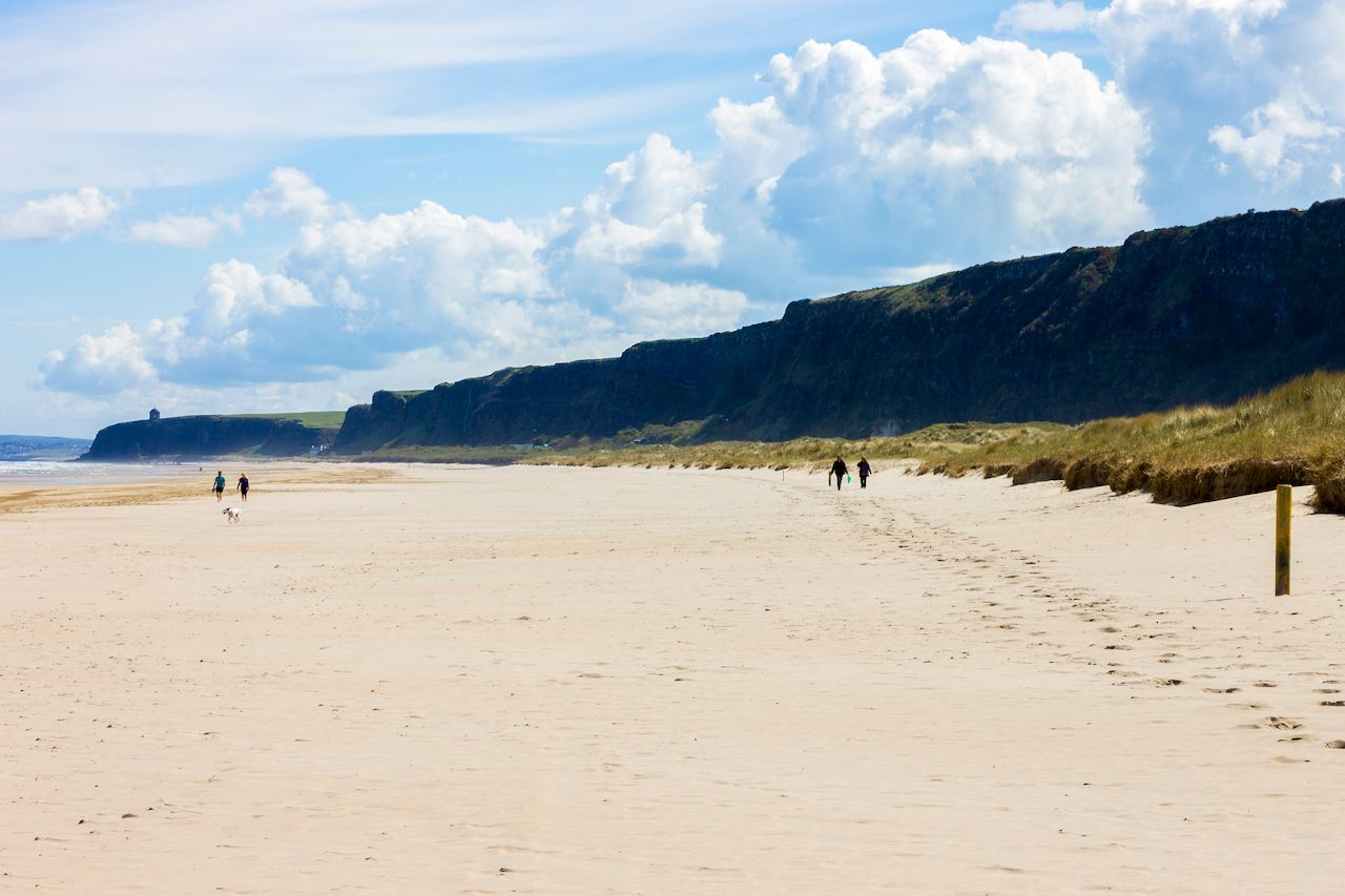 Benone Strand and Downhill Beach, a large sand strand in Castlerock, Derry County, Northern Ireland