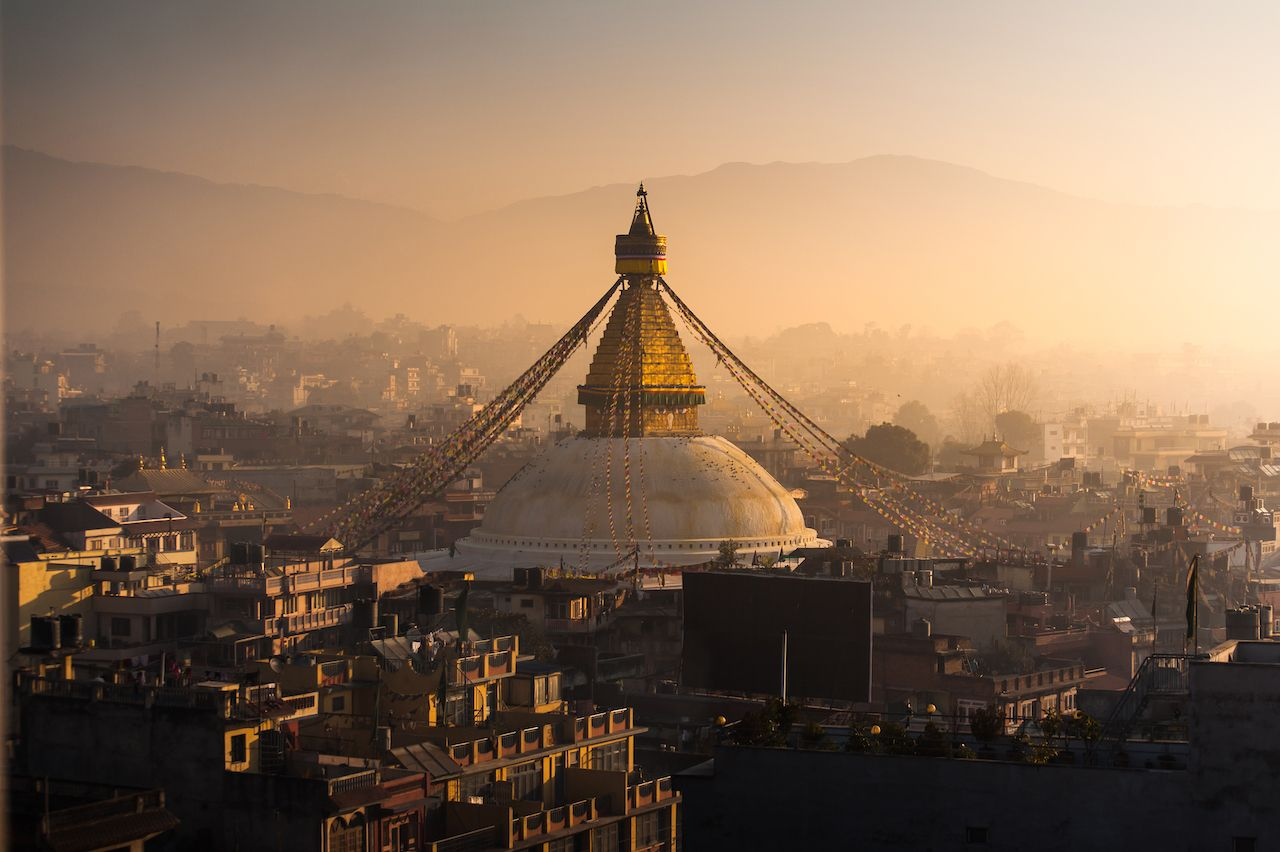 Boudhanath in Nepal Morning Sunrise
