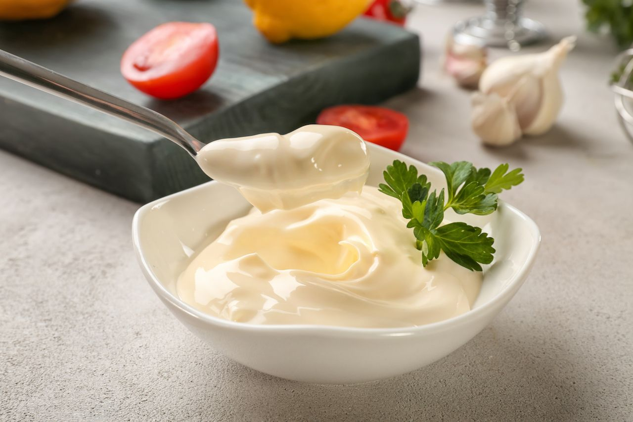 Bowl of homemade mayonaise