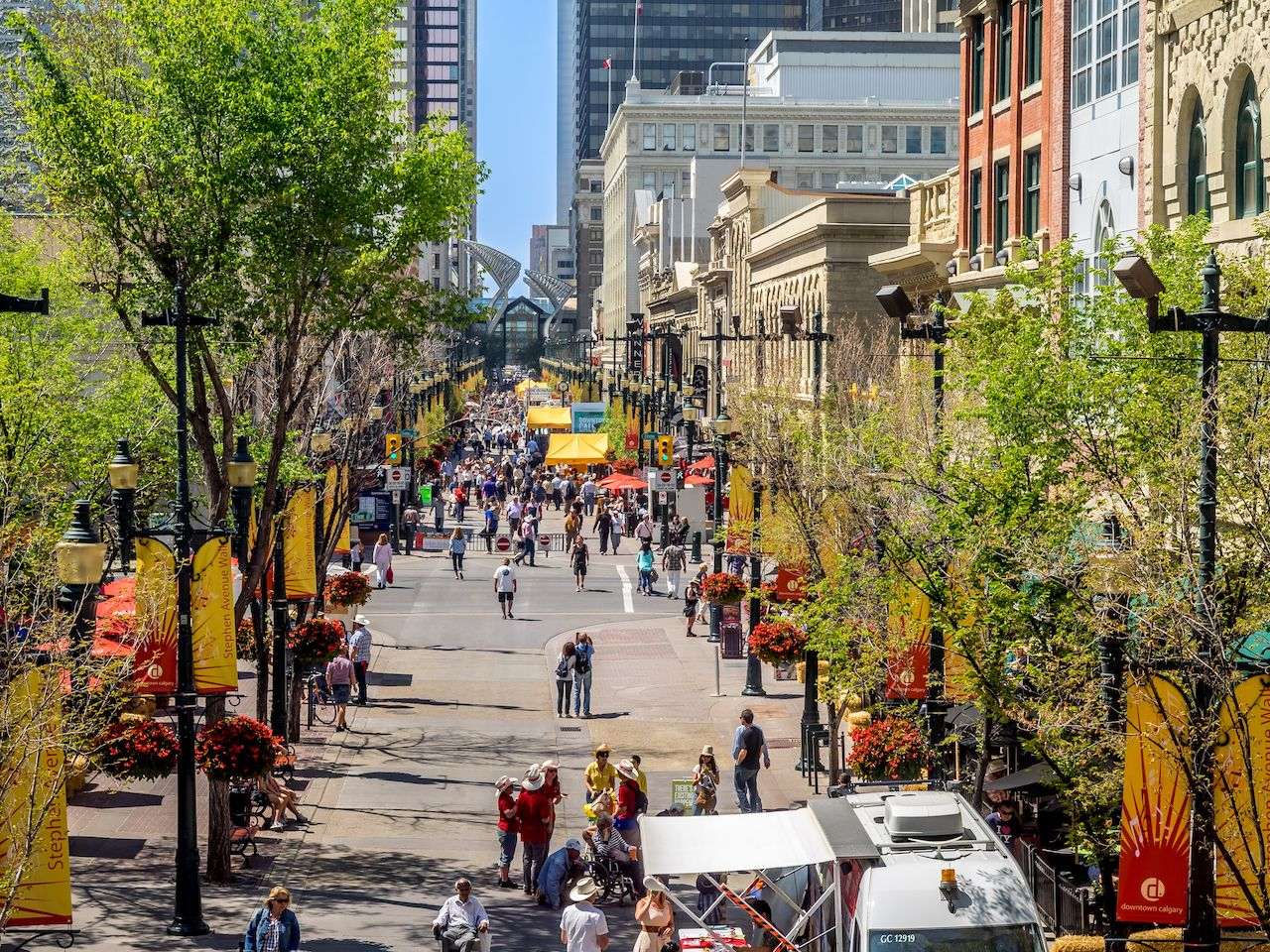 Busy Stephen Avenue in Calgary