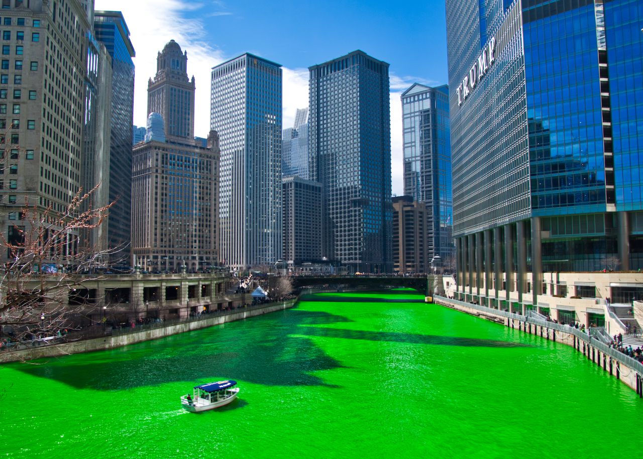 Chicago River is dyed green for St. Patrick's day