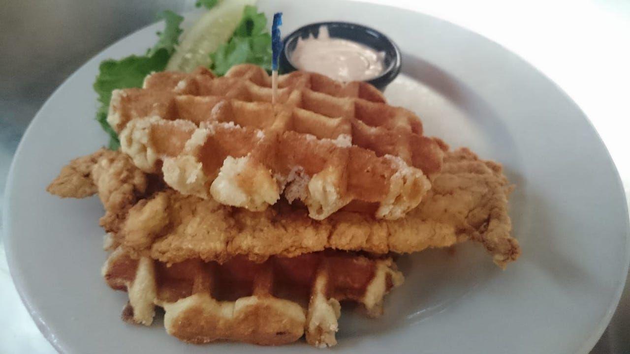 Chicken and waffles from original martket diner, Dallas