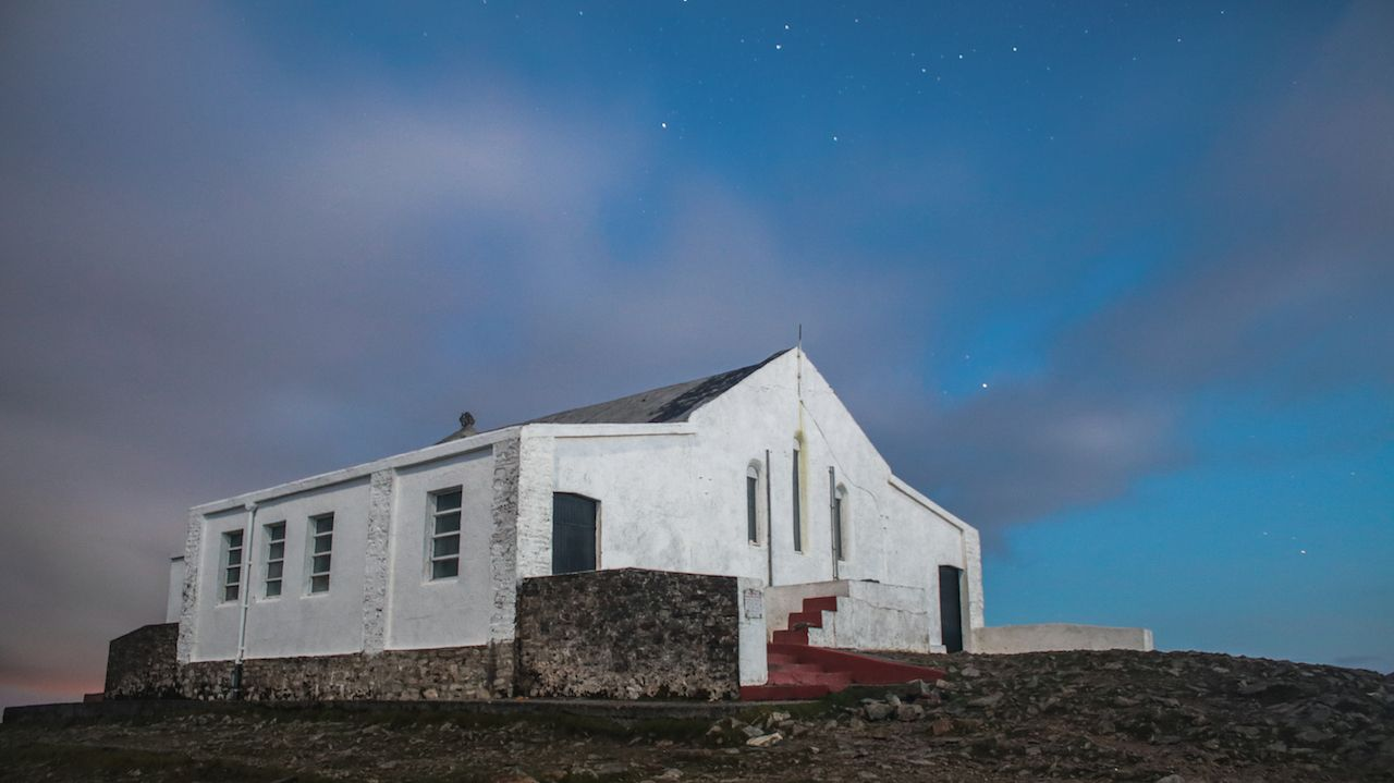 Church at the peak of a mountain in Ireland