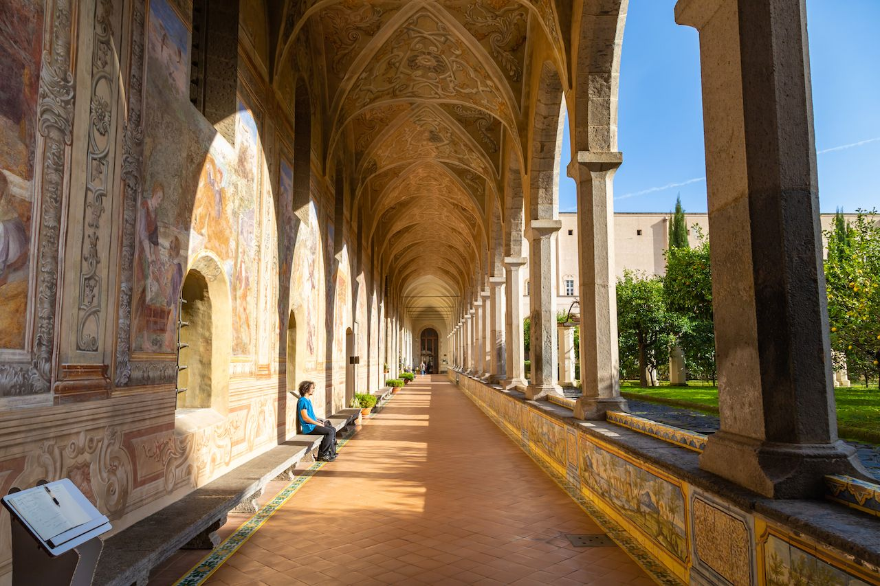 Cloister Garden of the Santa Chiara Monastery in Naples City, Italy