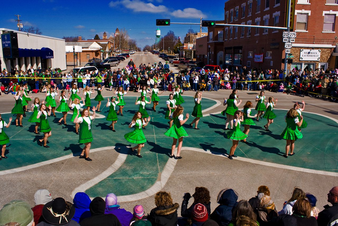 Dancers dancing on street in Nebraska