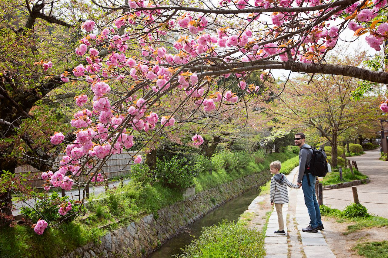 Father and son at philosopher's path in kyoto, japan