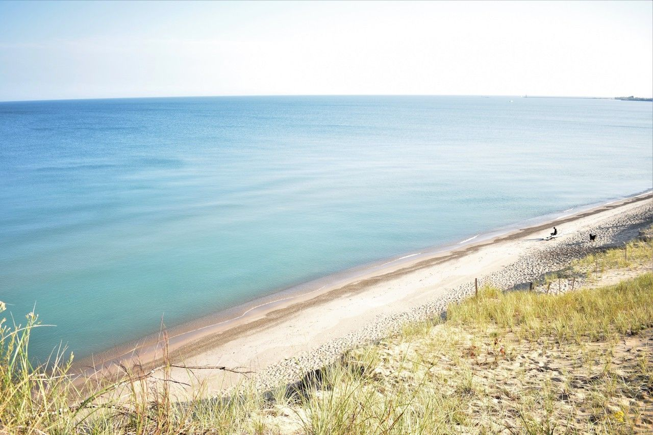 From the top of the Mount Baldy west dune trail, lake south of Lake Michigan shoreline in Dunes National Lakeshore Park Indiana