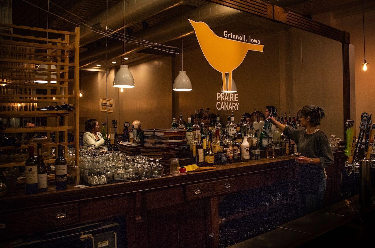 Grinell, Iowa, Prairie Canary bar with bartender