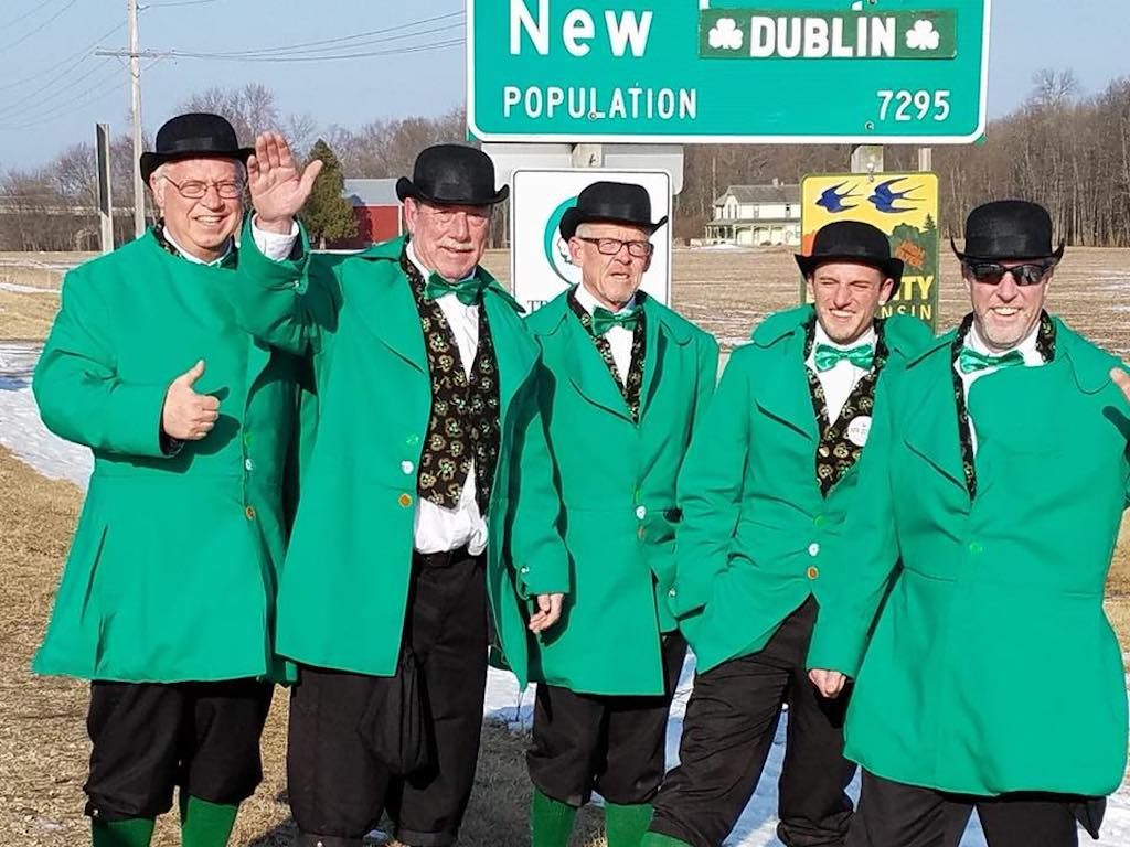Guys in green suits in New Dublin, New London, Wisconsin