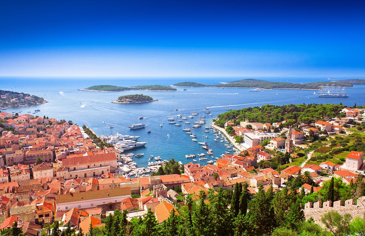 Harbor of old Adriatic island Hvar