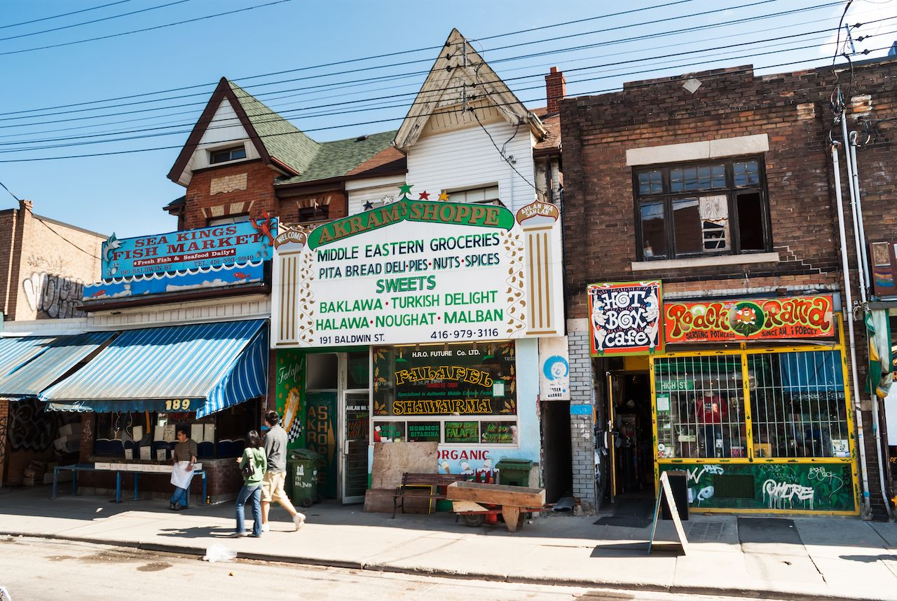Houses and shops in Kensington, Toronto