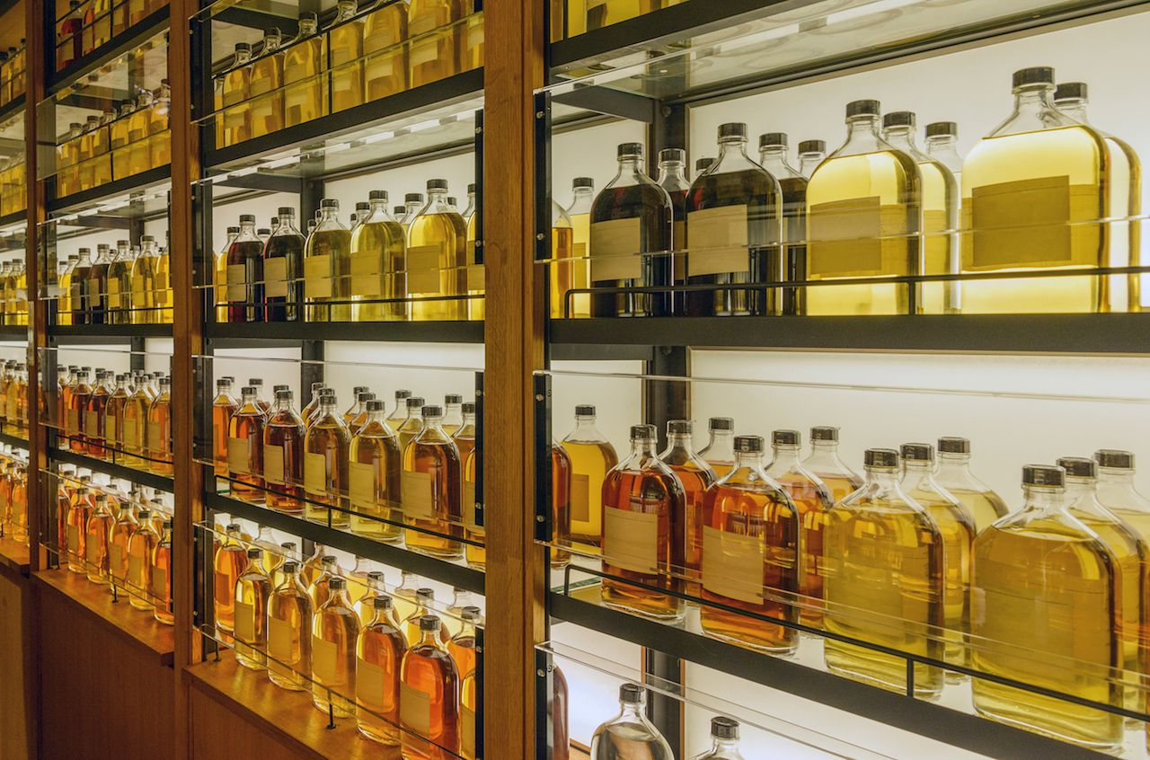 Japanese whiskeys on a shelf