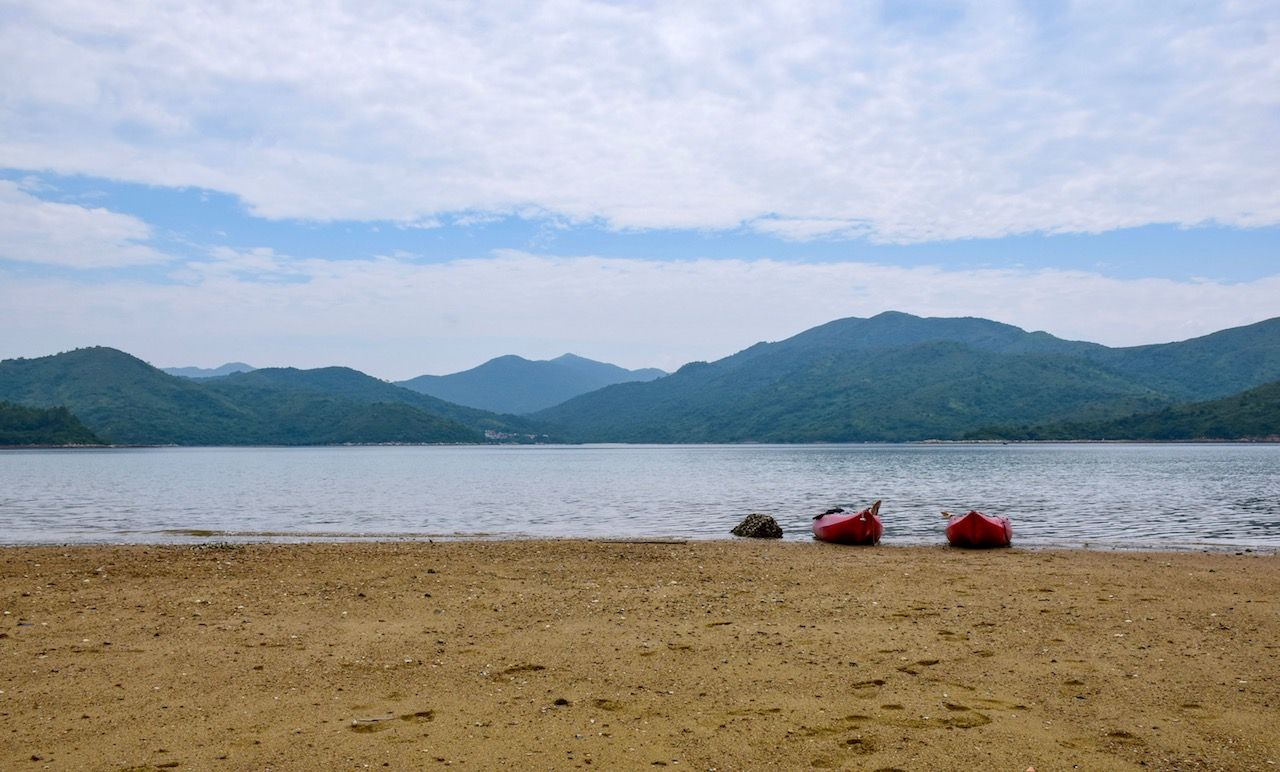 Kayaks on the beach in Hong Kong