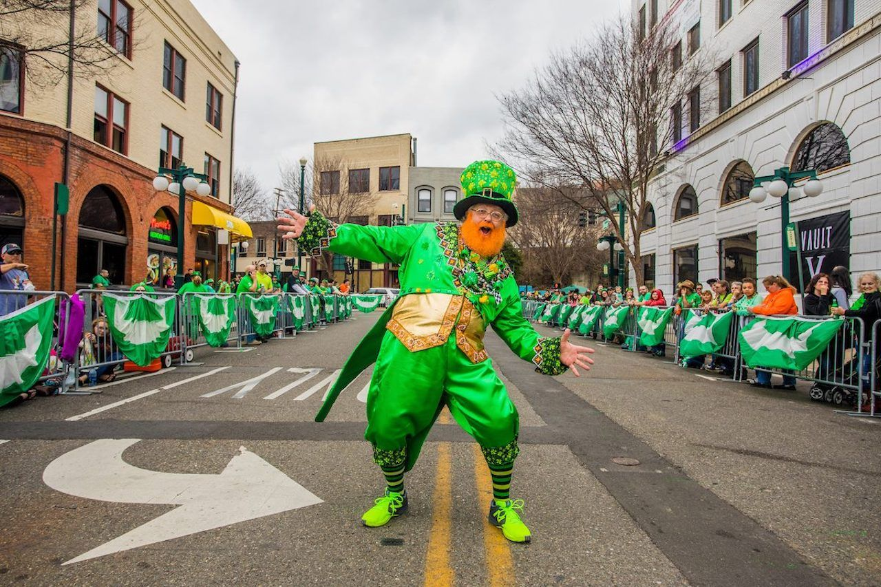 Leprechaun at shortest St. Patrick's Day parade in the world in Arkansas
