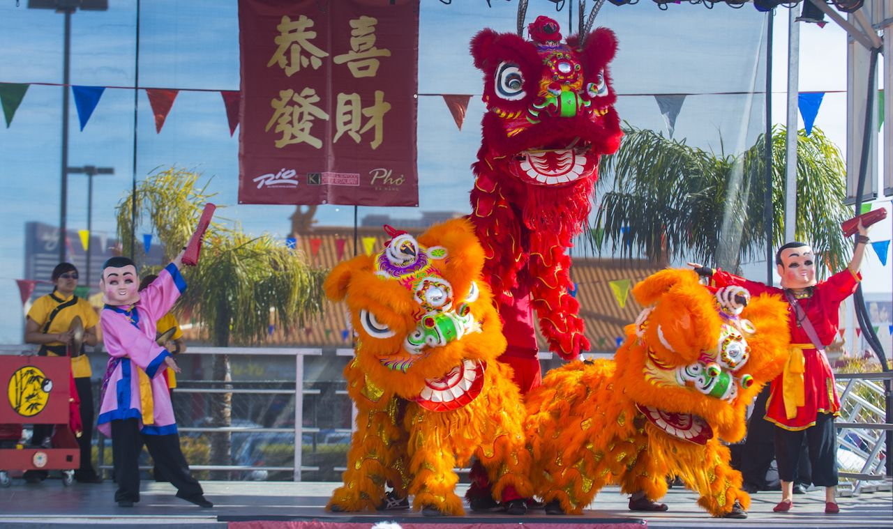 Lion Dance Performance during the Chinese New Year celebrations held in Las Vegas