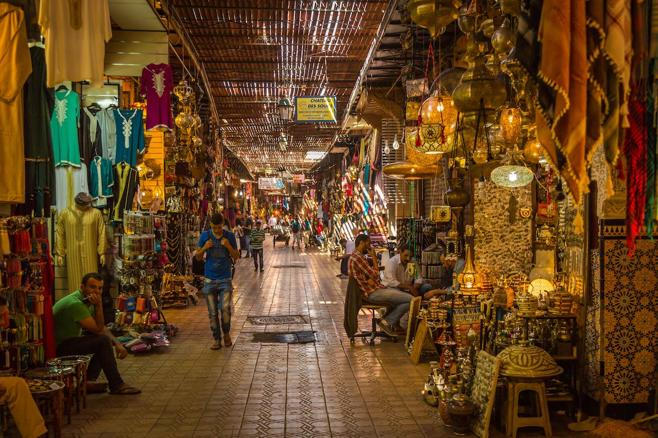 Moroccan souk filled with goods