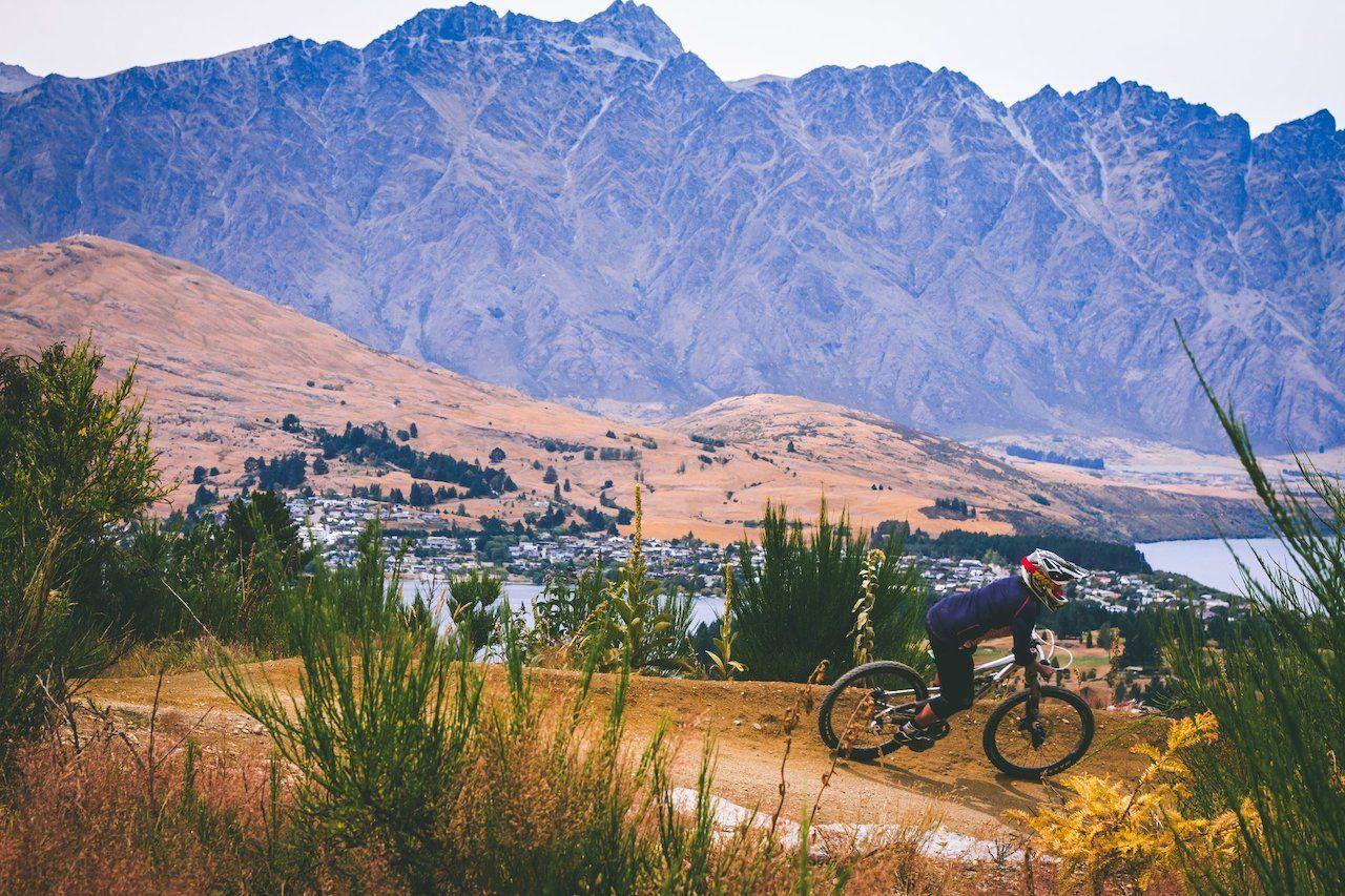 Mountain biker in Queenstown, New Zealand
