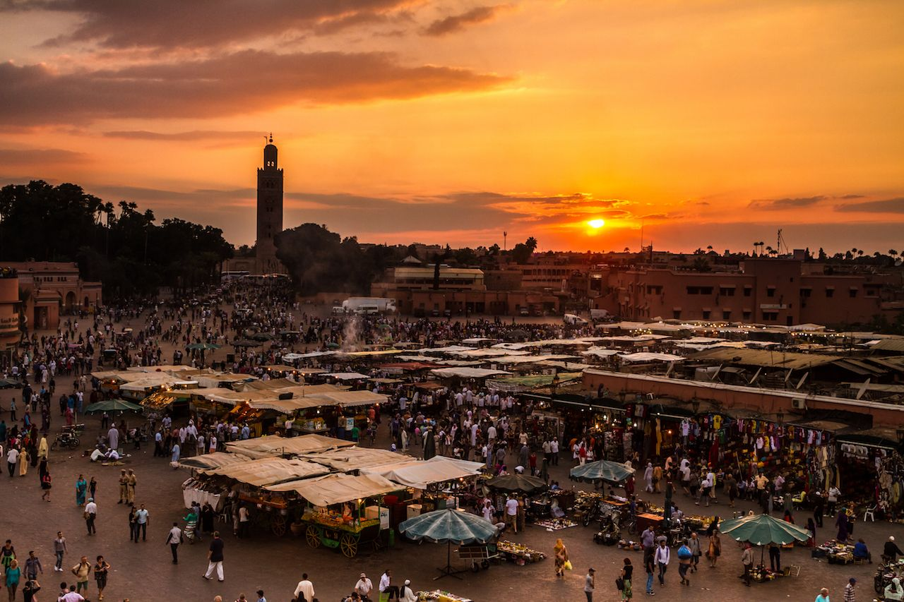 Outdoor market in Morocco at sunrise