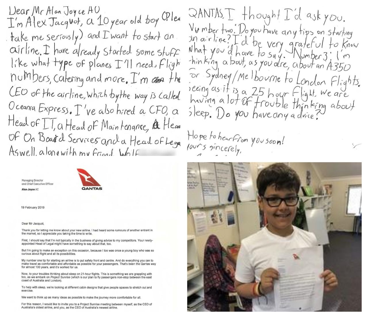 Boy's letter to Qantas CEO