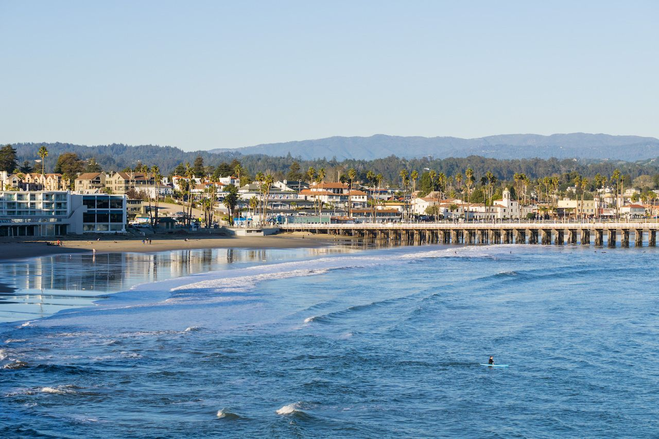 Santa Cruz bay and wharf at sunset, California