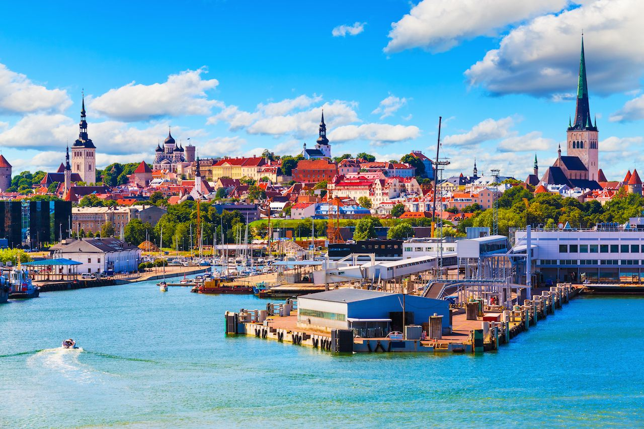 Scenic summer view of the Old Town and harbor harbor in Tallinn, Estonia