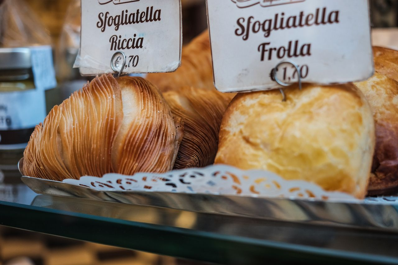 Sfogliatella, typical neapolitan patry in Naples, Italy