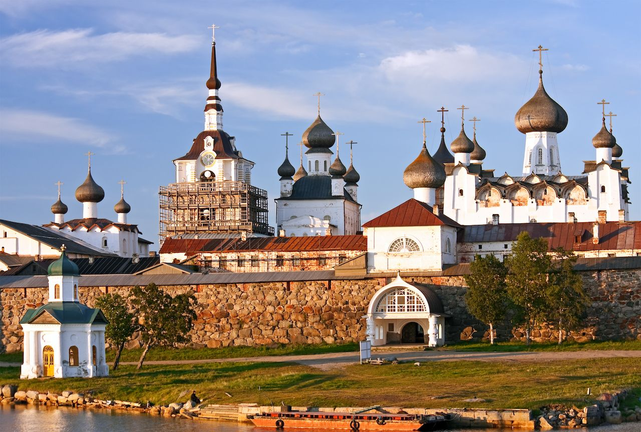Solovetsky Monastery is a historical and architectural museum at sunset, Solovetsky District, Arkhangelsk Oblast, Russia