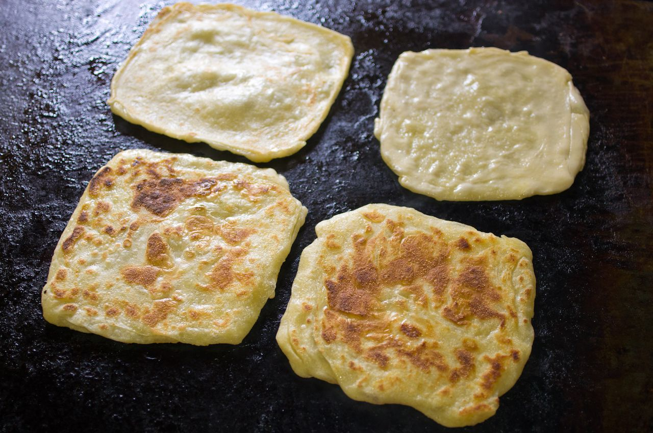 Special moroccan pancakes during the preparation