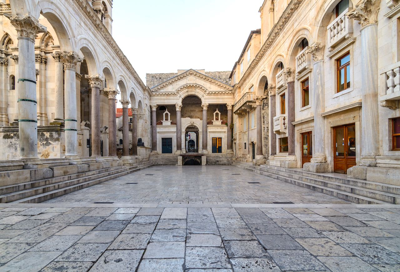Stone arches of the remains of Diocletian's palace in Split, Croatia