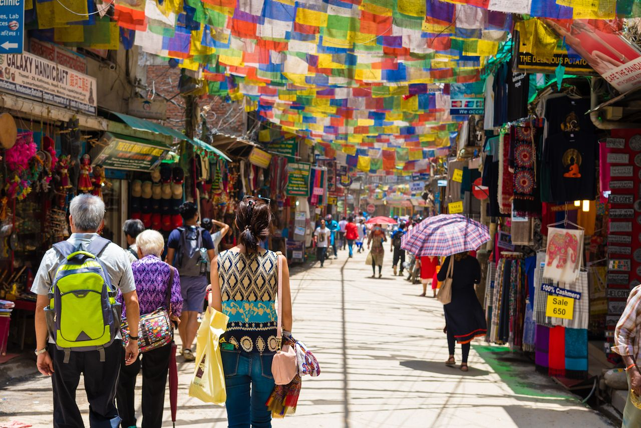 Street view in Thamel District, known as the Kathmandu Center of Tourism